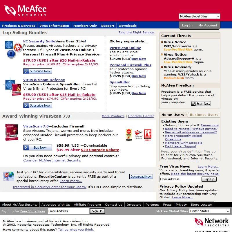 Página de Web Design Museum 2003
